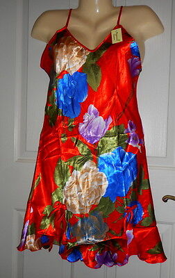 WOMEN'S SATIN CHEMISE NIGHTGOWN (SEE MEASUREMENTS), Red w/flowers, L &  XXL, NWT Womens Red Flower