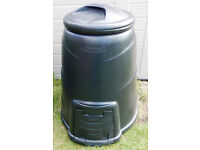 "Compost bin made by BLACKWALL, approx 36""h x 30"" wide at bottom. with lid & front door panel. Black"