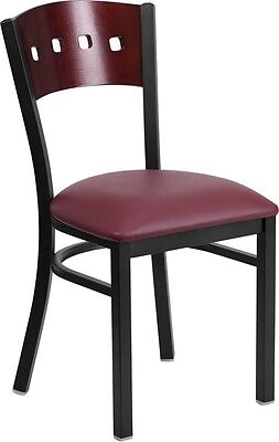 4 Square Back Metal Restaurant Chair - Mahogany Wood Back Burgundy Vinyl Seat