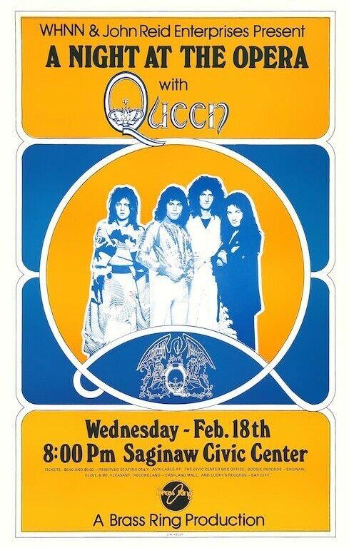 "Queen ""A Night at the Opera"" POSTER 1976 Bohemian Rhapsody Freddie Mercury"