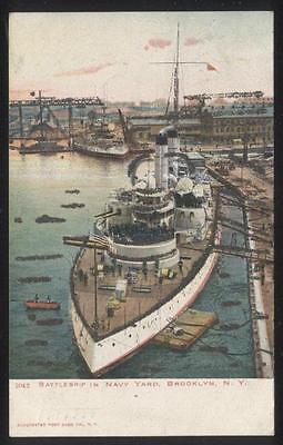 Postcard BROOKLYN NY  Battleship in Navy Yard Bird's Eye Aerial view 1906
