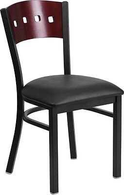 4 Square Back Metal Restaurant Chair - Mahogany Wood Back And Black Vinyl Seat