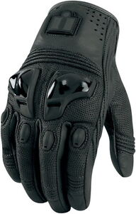 Icon Justice Leather Motorcycle Gloves Stealth L Large