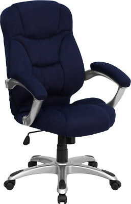 High Back Blue Microfiber Upholstered Contemporary Office Desk Chair