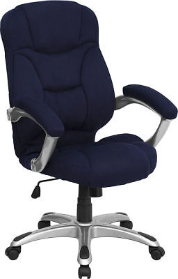Navy Blue Microfiber Fabric Computer Office Desk Chair