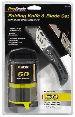 Folding Utility Razor Blade Knife Kit With 50pc Razor Blade Dispenser Box Cutter Kit Box Cutters