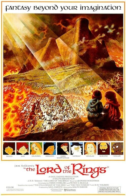 Lord of the Rings International POSTER 1978 Animated Rare Large