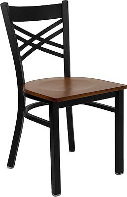 Lot Of 10 Metal X Back Restaurant Chairs With Cherry Wood Seat