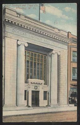 Postcard Wheeling Vw West Virginia Dollar Savings   Trust Bank Entrance 1907