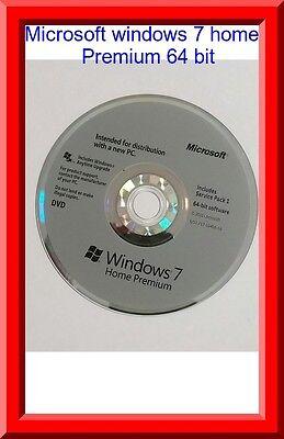 Microsoft Windows 7 Home premium SP1 64bit Full Version DVD with Product Key COA