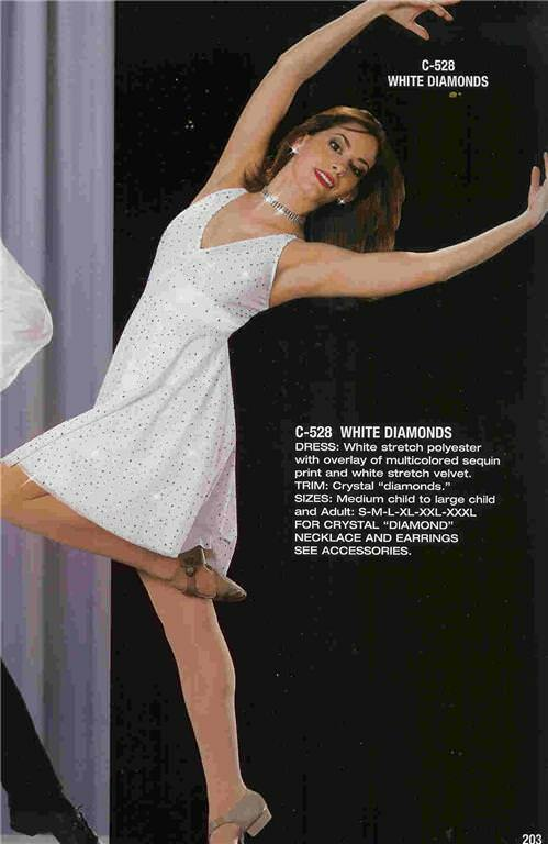 Dance Costume Lyrical Ballet White Dress White Diamonds