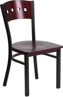 Black Decorative 4 Square Back Metal Restaurant Chair -mahogany Wood Back Seat