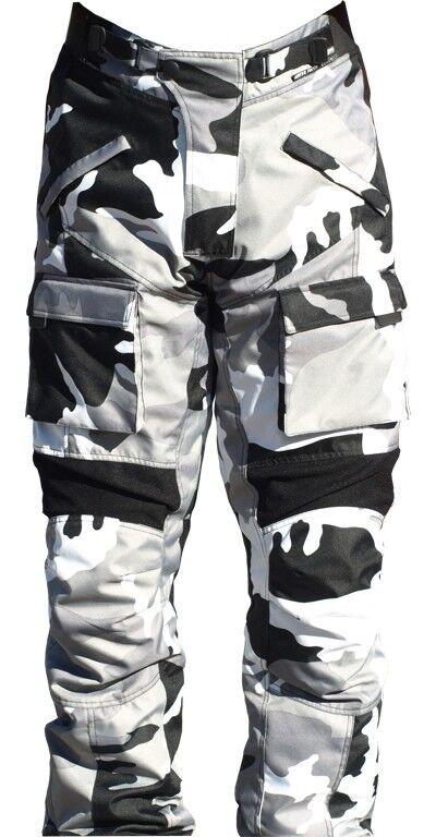 Motorrad Hose Textil Camouflage schwarz/weiß/grau | Jonez Moto Cylewear |
