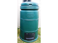 """Compost bin, made by THE COMPOST MACHINE, approx 46""""h x 28"""" wide at bottom. Green."""