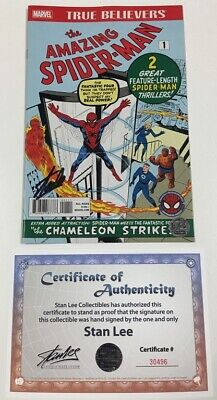 Marvel True Believers Amazing Spider-Man #1 Reprint Signed by Stan Lee w/COA Amazing Spider Man Comic Book