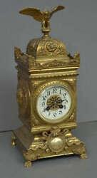 Antique 1900s Original French Imperial F. Martin Bronze Mantel Clock  Art Decor
