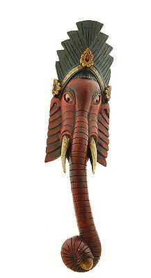 Mask Nepalese of L Himalaya Elephant Dieu Ganesha Wooden Painted 5314