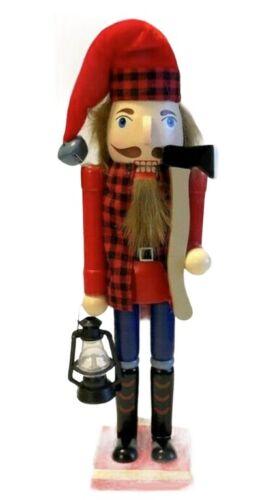 "Woodsman Nutcracker Wooden Christmas Nutcracker 15"" Cabin Lodge Buffalo Check"