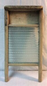 VINTAGE WOOD AND GLASS WASHBOARD 17 X 9