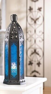 Tall Moroccan Design Candle Lantern w/ Floret Blue Pressed Glass 13