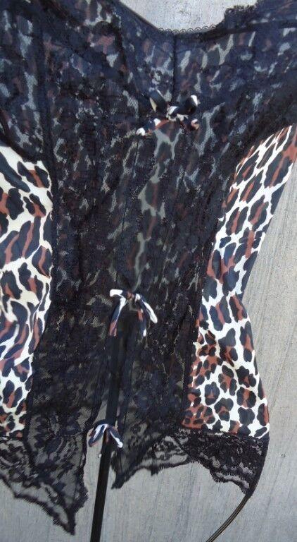 VTG 60s Revealing Leopard Animal Print NYLON L Sexy Lace Trim Camisole USA Made