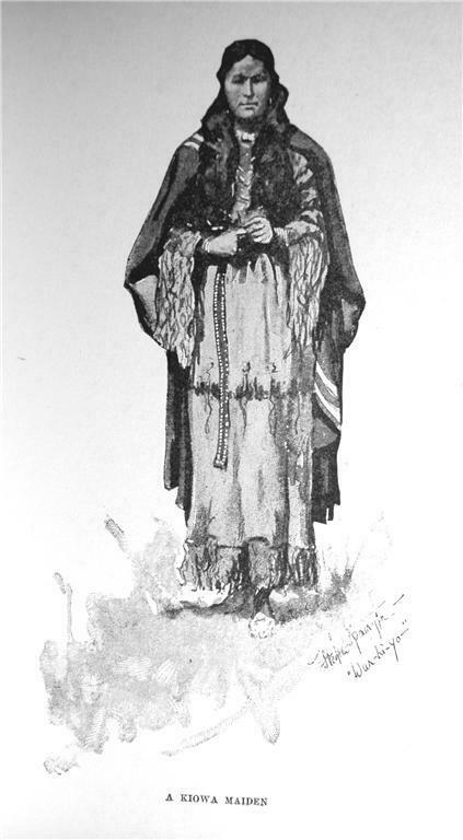 1892 A KIOWA MAIDEN INDIAN PRINT BY FREDERIC RIMINGTON OKLAHOMA HISTORY