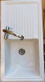Large White Ceramic Single Bowl Right Hand Drainer Kitchen Sink