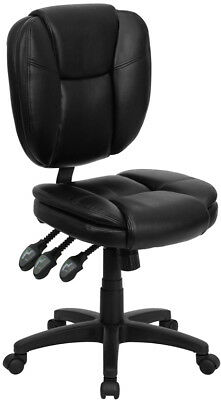Soft Black Leather Multi-function Armless Home Office Desk Task Computer Chairs