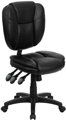 Soft Black Leather Multi-Function Armless Home Office Desk Task Computer Chairs - Multifunction Computer Chair