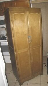Vintage Solid Wood Tall Wardrobe with clothes rail in good condi