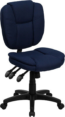 Mid-Back Navy Blue Fabric Multi-Functional Ergonomic Task Chair Blue Fabric Ergonomic Task Chair