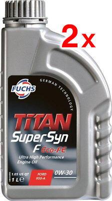 2 x FUCHS TITAN SUPERSYN F ECO-FE 0W-30 ENGINE OIL LUBRICANT 1 LITRE ACEA C2
