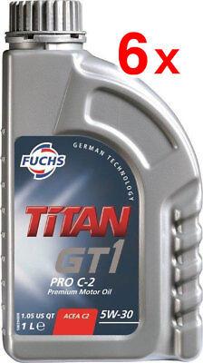 6 x FUCHS TITAN GT1 PRO C-2 5W-30 ENGINE OIL LUBRICANT 1 LITRE ACEA C2
