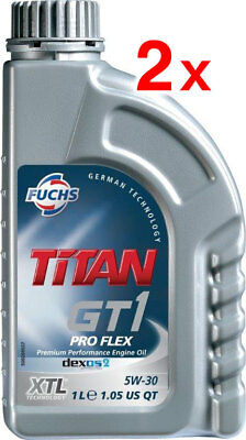 2 x FUCHS TITAN GT1 PRO FLEX 5W30 ENGINE OIL LUBRICANT XTL 1 LITRE ACEA C3
