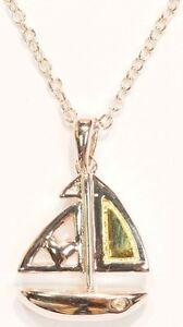 Sterling Rhodium Plated Diamond Sailboat Heart Pendant & Chain