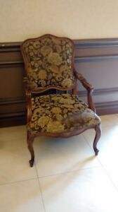 Upholstered Queen Anne style occasional chairs  x2