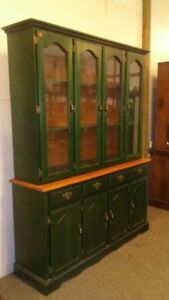 Green 2 Piece Painted China Cabinet  Up for Auction