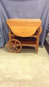 Maple Drop Leaf Tea Cart With Drawer