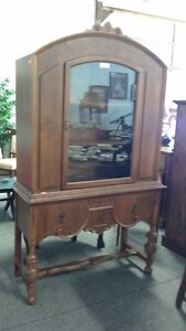 Antique 1930s Walnut China Cabinet, Sideboard & Dining Table
