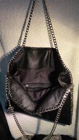 Stella McCartney Designer Soft Leather Handbag Bag Black Silver Chain High Quality