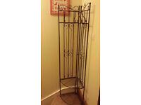Vintage style FOLDABLE METAL COAT STAND / SHOE RACK / SHELF / WARDROBE with 4 hooks, 2 shelves