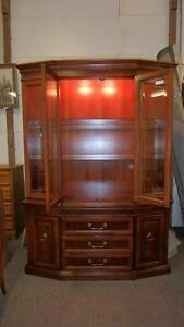 2 Piece Walnut China Cabinet Beveled Glass Doors