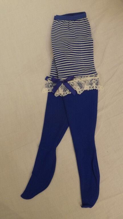 Vtg WHOOPIETITES Tights/Petti Pants Adorable Blue w/Stripes & Ruffles 7-10 NOS