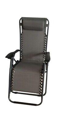 Grey / Black Zero Gravity Garden Chair Relaxer Lounger Head Rest Pillow cheapest
