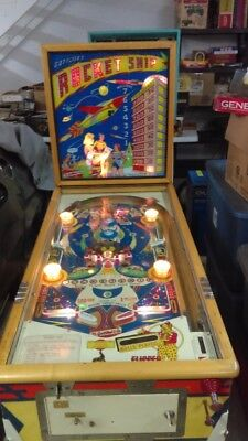1958 Gottlieb Rocket Ship Woodrail Dual Flipper Pinball Shopped Beautiful Piece