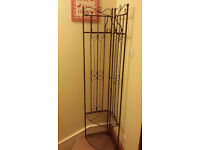 Vintage style FOLDABLE METAL COAT STAND / SHOE RACK / SHELF / WARDROBE with 4 hooks, 2 shelves