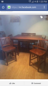 Bar height table with leaf and 8 chairs