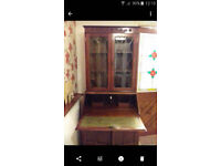 Medium Oak 1970's writing bureau with top leaded cupboard, excellent condition