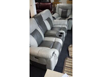 EX-DISPLAY SCS GREY ELECTRIC 2 SEATER WITH CONSOLE + ELECTRIC 1 SEATER RECLINER