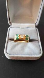 10K Gold Band with Emeralds & Diamonds